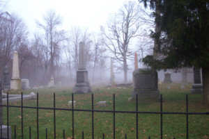 Fog at cemetery